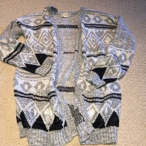 Gray black open pocket cardigan XL